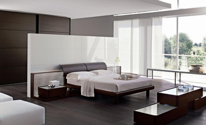 modern bedroom with wood effect